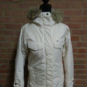 Columbia   Fur Hooded Down Coat Cream White